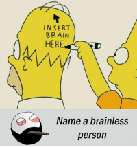 Be Like, Meme, and Memes: NSERT  BRAIN  HER  Name a brainless  person Twitter: BLB247 Snapchat : BELIKEBRO.COM belikebro sarcasm meme Follow @be.like.bro