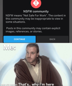 """Get out of my face: NSFW community  NSFW means """"Not Safe For Work"""". The content in  this community may be inappropriate to view in  some situations.  Posts in this community may contain explicit  images, references, or stories.  CONTINUE  BACK  Me:  made with mematic That's... why i'm here Get out of my face"""
