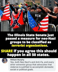 Goals, Memes, and Illinois: NSM  The Illinois State Senate just  passed a measure for neo-Nazi  groups to be classifled as  terrorist organizations.  SHARE if you agree this should  happen in all 50 states.  William Murphy  Yes, both Neo Nazi's and Anti-Fa, and every  other extremist group that advocates that  violence is justified to accomplish domestic  social or political goals. (GC)