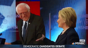 "drewsinead:  rainfelt:  drackiszunk:  littlesoulking:  yahoonews:  Hillary/Bernie 2016  Favorite moment from that rebate. Civility, decency and comradeship can exist amongst competitors. It's heartening to see.  We need to remember this no matter the outcome of the primary.  I think – no, I know – we forget.  We get so caught up in all the good things Hillary probably won't do – like campaign finance reform, like affordable colleges, like doing something about police brutality – and it gets very easy to feel like electing her won't help anyone.  But we forget about the bad things she won't do. We forget that things can get not only better, but worse.  We forget that the Republican platform has shrunk over the years to just a few things. Anti-welfare, anti-abortions, anti-tax reform, anti-immigration reform, pro-war instead of just not enough against it, pro-police brutality. Ayn Rand is popular reading over there. And they will all feel obligated to at least try to destroy Obamacare.  They will get to choose FOUR Supreme Court justices, and if you didn't like it when the Voting Rights Act was gutted, you'll have a lot more of that to look forward to. With eight conservative justices, it will be easy to destroy this country.  Things can get worse. We could all be Flint, with deregulation. We could all see our wages and benefits evaporate with anti-union legislation.  Hillary Clinton might not improve things enough to make any of us happy. She might not improve things much at all.  But she won't send us careening off the cliff.  If you're still feeling torn, still thinking ""both parties are corrupt, what difference does it make"" – harken back to the 2000 elections, and understand that people felt the same way then. Everyone thought George W would be pretty harmless. Lots of us on the left decided to vote third-party. Without Nader voters, it would never have come down to fraud in Florida.  So let's not make the same mistake twice within my lifetime, okay?  I will vote for Bernie in the Primaries.. But if Hillary ends up winning the nomination you bet your ass I'll be at the polls come November voting for her.. I DO NOT want any of those republican candidates in office. : NSNE  LIVE  MSNBC  DEMOCRATIC CANDIDATES DEBATE drewsinead:  rainfelt:  drackiszunk:  littlesoulking:  yahoonews:  Hillary/Bernie 2016  Favorite moment from that rebate. Civility, decency and comradeship can exist amongst competitors. It's heartening to see.  We need to remember this no matter the outcome of the primary.  I think – no, I know – we forget.  We get so caught up in all the good things Hillary probably won't do – like campaign finance reform, like affordable colleges, like doing something about police brutality – and it gets very easy to feel like electing her won't help anyone.  But we forget about the bad things she won't do. We forget that things can get not only better, but worse.  We forget that the Republican platform has shrunk over the years to just a few things. Anti-welfare, anti-abortions, anti-tax reform, anti-immigration reform, pro-war instead of just not enough against it, pro-police brutality. Ayn Rand is popular reading over there. And they will all feel obligated to at least try to destroy Obamacare.  They will get to choose FOUR Supreme Court justices, and if you didn't like it when the Voting Rights Act was gutted, you'll have a lot more of that to look forward to. With eight conservative justices, it will be easy to destroy this country.  Things can get worse. We could all be Flint, with deregulation. We could all see our wages and benefits evaporate with anti-union legislation.  Hillary Clinton might not improve things enough to make any of us happy. She might not improve things much at all.  But she won't send us careening off the cliff.  If you're still feeling torn, still thinking ""both parties are corrupt, what difference does it make"" – harken back to the 2000 elections, and understand that people felt the same way then. Everyone thought George W would be pretty harmless. Lots of us on the left decided to vote third-party. Without Nader voters, it would never have come down to fraud in Florida.  So let's not make the same mistake twice within my lifetime, okay?  I will vote for Bernie in the Primaries.. But if Hillary ends up winning the nomination you bet your ass I'll be at the polls come November voting for her.. I DO NOT want any of those republican candidates in office."