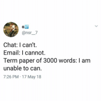 Follow my other account @enjoy if you enjoy this page (get it?): @nsr_7  Chat: I can't.  Email: I cannot.  Term paper of 3000 words: I am  unable to can.  7:26 PM 17 May 18 Follow my other account @enjoy if you enjoy this page (get it?)