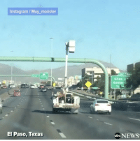 "Abc, Memes, and Monster: nstagram Moy monster  El Paso, Texas  Giles  Hunter  abc NEWS Repost:@ABCnews-""CLOSE CALL: Raised cherry picker narrowly avoids highway signs while cruising along an interstate in Texas. Thankfully, drivers were able to flag he driver down and no one was injured"" 😳😩🙏 WSHH"