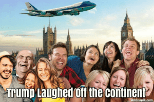 This is sad, that this is how we're now seen in the international community.: NTED STATES OFAMERICA  Trump Laughed off the continent  Wannapik.com This is sad, that this is how we're now seen in the international community.