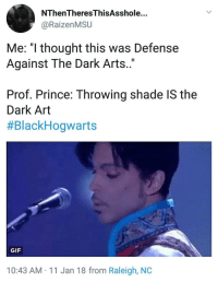 """<p>Dark Arts Professor Since 1975 (via /r/BlackPeopleTwitter)</p>: NThenTheresThisAsshole...  @RaizenMSU  Me: """"l thought this was Defense  Against The Dark Arts..""""  Prof. Prince: Throwing shade IS the  Dark Art  #BlackHogwarts  GIF  10:43 AM 11 Jan 18 from Raleigh, NOC <p>Dark Arts Professor Since 1975 (via /r/BlackPeopleTwitter)</p>"""