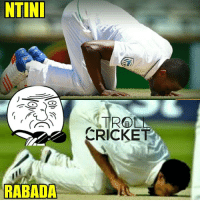 Memes, Kiss, and 🤖: NTINI  RABADA  ROOD  CRICKET Rabada does what Ntini did, kissing the ground !!!   <finisher>