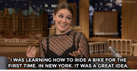 "New York, Streets, and Target: NTONIGHT  13  IWAS LEARNING HOW TO RIDE A BIKE FOR THE  FIRST TIME. IN NEW YORK. IT WAS A GREAT IDEA <p><a href=""http://www.nbc.com/the-tonight-show/video/melissa-benoist-got-hit-by-a-cab-in-nyc/3005110"" target=""_blank"">Melissa Benoist fell frequently in the NYC streets while learning how to ride a bike.</a><br/></p>"