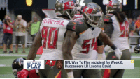 Football, Memes, and Nfl: ntradL  NFL WAY TO  PLAY  NFL Way To Play recipient for Week 6:  Buccaneers LB Lavonte David Congratulations to @Buccaneers LB Lavonte David, the recipient of the Week 6 #NFLWayToPlay Award! 🎉🎉🎉  Watch as he wraps up to secure this tackle. The weekly award promotes proper playing technique across all levels of football: https://t.co/HVQtu1zQ3U (via @GMFB) https://t.co/atjQZ0GDHQ