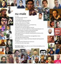"""White Guilt: nu-male  has beard and/or glasses  20-30 years old  commonly prematurely balding  white knight with white guilt  favorite method of activism is complaining  :uses words like """"problematic""""  donates to at least one Patreon female  jumps to any woman's defense on the internet despite not  ever receiving any rewards or personal benefits  submissive, passive, boring but outspoken  attempted to be an indie dev at some point (evidenced by  pixel art avatars)  more functional in society than average beta males  one step above fedora lords  :think they are all unique individuals despite looking exactly  the same  Twitter bio and Tinder bio are identical  :will take his wife's last name  Example usage  Hey, did you see all those nu-males giving  Brianna Wu money?"""