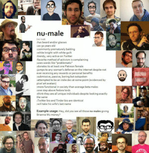 """Take the Breadpill: nu-male  I'nü-'mäll  :has beard and/or glasses  :20-30 years old  :commonly prematurely balding  :white knight with white guilt  :trendy, very active on Twitter  :favorite method of activism is complaining  :uses words like """"problematic""""  :donates to at least one Patreon female  :jumps to any woman's defense on the internet despite not  ever receiving any rewards or personal benefits  :submissive, passive, boring but outspoken  :attempted to be an indie dev at some point (evidenced by  pixel art avatars)  :more functional in society than average beta males  :one step above fedora lords  :think they are all unique individuals despite looking exactly  the same  :Twitter bio and Tinder bio are identical  :will take his wife's last name  ER  Example usage: Hey, did you see all those nu-males giving  Brianna Wu money? Take the Breadpill"""