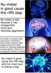 Nu-Metal: Nu-metal  is good cause  the riffs slap  Nu-metal is bad  because it has  misogynistic  lyrics and  valorises aggression  Nu-metal is a grass-roots  subcultural movement  that unified working class  people across the racial  divide by merging disparate  musical styles; criticism of  its populist content is classis  Nu-metal is good  cause the riffs slap  and the clown guy  is hitting a keg Nu-Metal