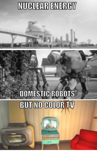 Energy, Memes, and 🤖: NUCLEAR ENERGY  DOMESTIC ROBOTS  BUT NO COLOR TV Anyone else notice this?? -MacCready