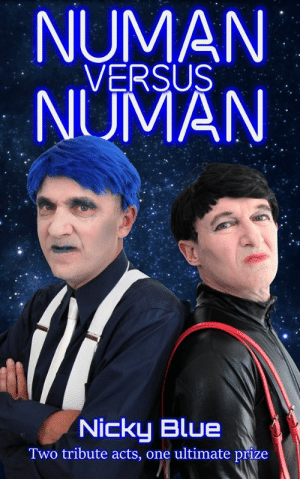 scifiseries:  Numan Versus Numan (Alternative 80s Book 1) Two tribute bands. One ultimate prize. Zero room for failure.For  years, The Romford Bombers have dominated the Gary Numan tribute band  circuit. And then, last year, The Storm Troopers came out of nowhere and  stole their crown.The Bombers' 56-year-old lead singer - named  'Five' - will do whatever it takes to win it back. He also has reason to  believe The Storm Troopers are pursuing a hidden agenda, and he's  determined to get to the bottom of it.As Five wrestles with his  suspicions, the Romford and Dagenham Gary Numan fan club organise one  final battle of the bands. The winner of which, will become the all-time  ultimate Numan tribute act. The stakes had never been higher.   : NUMAN  VERSUS  NUMAN  Nicky Blue  Two tribute acts, one ultimate prize scifiseries:  Numan Versus Numan (Alternative 80s Book 1) Two tribute bands. One ultimate prize. Zero room for failure.For  years, The Romford Bombers have dominated the Gary Numan tribute band  circuit. And then, last year, The Storm Troopers came out of nowhere and  stole their crown.The Bombers' 56-year-old lead singer - named  'Five' - will do whatever it takes to win it back. He also has reason to  believe The Storm Troopers are pursuing a hidden agenda, and he's  determined to get to the bottom of it.As Five wrestles with his  suspicions, the Romford and Dagenham Gary Numan fan club organise one  final battle of the bands. The winner of which, will become the all-time  ultimate Numan tribute act. The stakes had never been higher.