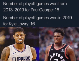Is Kyle Lowry underrated? 👀 (via @aoneg_/Twitter): Number of playoff games won from  2013-2019 for Paul George: 16  Number of playoff games won in 2019  for Kyle Lowry: 16  Sun Life  ORS  TUPPERS Is Kyle Lowry underrated? 👀 (via @aoneg_/Twitter)