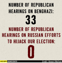 Where's the Republican outrage now?  Image by Occupy Democrats, LIKE our page for more!: NUMBER OF REPUBLICAN  HEARINGS ON BENGHAZI:  33  NUMBER OF REPUBLICAN  HEARINGS ON RUSSIAN EFFORTS  TO HIJACK OUR ELECTION:  Credit: Howard Wolfson  OCCUPY DEMOCRATS Where's the Republican outrage now?  Image by Occupy Democrats, LIKE our page for more!