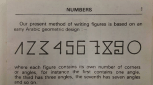 Tumblr, Wow, and Blog: NUMBERS  Our present method of writing figures is based on an  early Arabic geometric design  where each figure contains its own number of corners  or angles, for instance the first contains one angle,  the third has three angles, the seventh has seven angles  and so on. sixpenceee:This is really interesting. Wow.