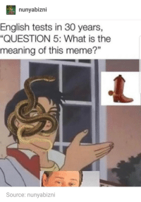 """Meme, Meaning, and What Is: nunyabizni  English tests in 30 years,  """"QUESTION 5: What is the  meaning of this meme?""""  Source: nunyabizni Fill in the blank: is this ____"""
