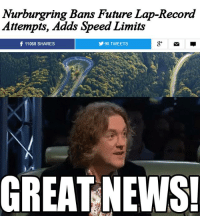 James May's reaction to the Nurburgring news: Car Throttle: Nurburgring Bans Future Lap-Record  Attempts, Adds Speed Limits  f 11068 SHARES  Y 90 TWEETS  GREAT NEWS! James May's reaction to the Nurburgring news: Car Throttle