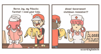 Follow @web.comics for more: Nurse Joy, my Pikachu  fainted! I need your help.  Ahem! Government  shutdown remember!?  ELOSEl  ue to gove  shutdown  according to devin Follow @web.comics for more
