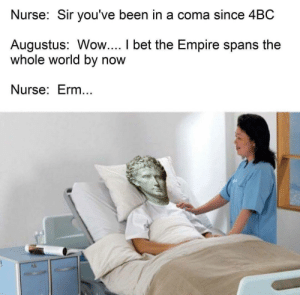 erm: Nurse: Sir you've been in a coma since 4BC  Augustus: Wow.... I bet the Empire spans the  whole world by now  Nurse: Erm...
