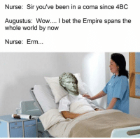 Youve Been In A Coma: Nurse: Sir you've been in a coma since 4BC  Augustus: Wow.... l bet the Empire spans the  whole world by now  Nurse: Erm..