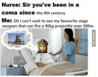 Fire, Been, and Can: Nurse: Sir you've been in a  coma since the 4th century  Me: oh I can't wait to see my favourite siege  weapon that can fire a 90kg projectile over 300m