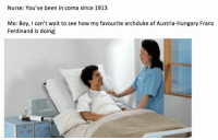 Memes, Nursing, and Austria: Nurse: You've been in coma since 1913  Me: Boy, can't wait to see how my favourite archduke of Austria-Hungary Franz  Ferdinand is doing