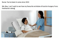 Nursing, Dank Memes, and Austria: Nurse: You've been in coma since 1913  Me: Boy, can't wait to see how my favourite archduke of Austria-Hungary Franz  Ferdinand is doing
