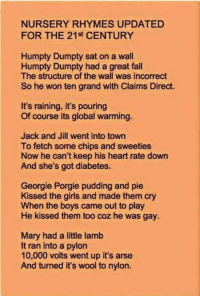 Global Warming Memes And Diabetes Nursery Rhymes Updated For The 21st Century Humpty