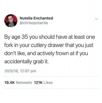 Memes, Nutella, and 🤖: Nutella Enchanted  @chrisopotamia  By age 35 you should have at least one  fork in your cutlery drawer that you just  don't like, and actively frown at if you  accidentally grab it.  20/5/18, 12:07 pm  19.4K Retweets 121K Likes