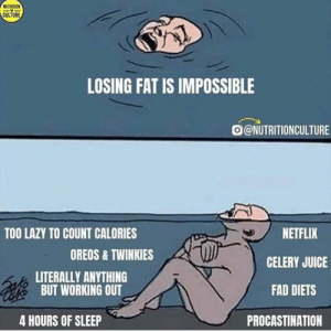 Stop making excuses 🖐 @nutritionculture: NUTRITION  CULTURE  LOSING FAT IS IMPOSSIBLE  @NUTRITIONCULTURE  NETFLIX  TOO LAZY TO COUNT CALORIES  OREOS& TWINKIES  CELERY JUICE  LITERALLY ANYTHING  BUT WORKING OUT  FAD DIETS  4 HOURS OF SLEEP  PROCASTINATION Stop making excuses 🖐 @nutritionculture