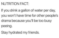 Friends, Time, and Water: NUTRITION FACT:  If you drink a gallon of water per day,  you won't have time for other people's  drama because you'll be too busy  peeing.  Stay hydrated my friends. Stay hydrated my friends.