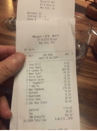 """Bad, Bae, and Bailey Jay: Nuurs-Et NYC  60 53rd St  New York, NY  Merchant ID:  Terminal ID: 7  Check # .。.^^  2  Nusr-Et NYC  51 W 53rd Street  New York, NYC  87 Tarik  Gst 4  Chk 8440  Jan21'18 06:33PM  1 93/1  9.00  9.00  460.00  20.00  6.00  75.00  70.00  70.00  275.00  15.00  1 Voss Stil1  1 Voss Spark  2 R Caymus 15  1 Meat Sushi  5  1 Extra Sushi  3 Nusret Salad  11 Spaghetti""""  1 1 Saslik  1 Bae Tomahawk  1 Spinach  1 Mushrooms  4 Diet Coke  2 Cab Sauv Glass  28.00  62.00  1114.00  98.87  200.52  Subtotal  18% Gratuity  08:35PM Total Due  1413.39  ining ith us"""