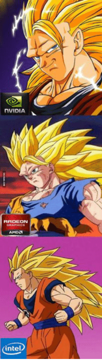 Dank, 🤖, and Dragon Ball: nVIDIA  RADEON  AMDA  intel My opinion after seeing the last episode of Dragon Ball Super http://9gag.com/gag/aynM2Rq?ref=fbp
