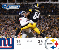 Final score. Poor pass protection & missed opportunity hurt us today! GiantsPride 🏈: ny  GIANTS PRIDE  14 Final  24  NYG  Steelers Final score. Poor pass protection & missed opportunity hurt us today! GiantsPride 🏈