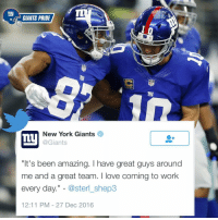 """Gotta luv @sterl_shep3 GiantsPride 🏈: ny  GIANTS PRIDE  NFI  my  New York Giants  Ly  @Giants  """"It's been amazing. have great guys around  me and a great team. love coming to work  every day  oster shep3  12:11 PM 27 Dec 2016 Gotta luv @sterl_shep3 GiantsPride 🏈"""