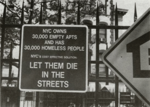 "Homeless, Streets, and Target: NYC OWNS  30,000 EMPTY APTS  AND HAS  30,000 HOMELESS PEOPLE  NYC's coST EFFECTIVE SOLUTION:  LET THEM DIE  IN THE  STREETS historium:""Let them die in the streets"" USA, 1990"