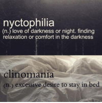 Clinomania: nyctophilia  (n.) love of darkness or night. finding  relaxation or comfort in the darkness  clinomania  (n.) excessive desire to stay in bed