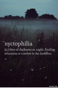 Dank, 🤖, and Comforter: nyctophilia  (n.) love of darkness or night. finding  relaxation or comfort in the darkness.  VIA 9GAG.COM Well this explains why I always get better results on course works I write at night http://9gag.com/gag/ajrG00x?ref=fbp