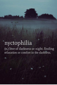 Apparently, Love, and The Darkness: nyctophilia  (n.) love of darkness or night. finding  relaxation or comfort in the darkness. <p>Apparently This Totally Defines Me.</p>