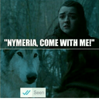 "Memes, Time, and 🤖: ""NYMERIA, COME WITH ME!""  Seen ""Remeber that one time you threw a rock at me?"""