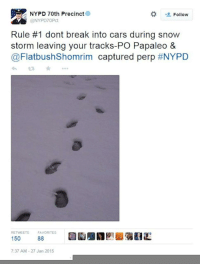 "Cars, New York, and News: NYPD 70th Precinct  Follow  @NYPD7OPct  Rule #1 dont break into cars during snow  storm leaving your tracks-PO Papaleo &  @FlatbushShomrim captured perp #NYPD  RETWEETSFAVORITES  150  88  7:37 AM-27 Jan 2015 <p><a class=""tumblr_blog"" href=""http://inothernews.tumblr.com/post/109335080702/today-in-idiot-criminals-via-the-new-york-daily"" target=""_blank"">inothernews</a>:</p> <blockquote> <p><strong><a href=""http://www.nydailynews.com/new-york/brooklyn/snowy-footprints-lead-brooklyn-car-burglary-bust-article-1.2094092"" target=""_blank"">Today in idiot criminals.</a>  </strong><em>(via the New York Daily News)</em></p> </blockquote>"