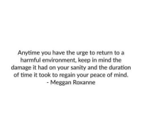 Time, Mind, and Peace: nytime you have the urge to return to a  harmful environment, keep in mind the  damage it had on your sanity and the duration  of time it took to regain your peace of mind.  Meggan Roxanne