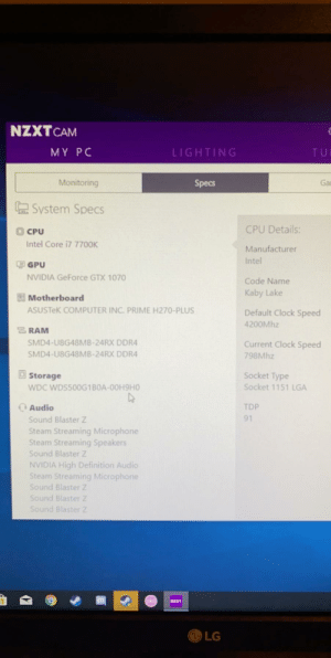 What will be a fair price for this used pc?: NZXT CAM  MY PC  LIGHTING  TU  Ga  Monitoring  Specs  System Specs  CPU Details:  CPU  Intel Core i7 7700K  Manufacturer  Intel  모 GPU  NVIDIA GeForce GTX 1070  Code Name  Kaby Lake  Motherboard  ASUSTEK COMPUTER INC. PRIME H270-PLUS  Default Clock Speed  4200Mhz  RAM  SMD4-U8G48MB-24RX DDR4  Current Clock Speed  SMD4-U8G48MB-24RX DDR4  798Mhz  Socket Type  Socket 1151 LGA  Storage  WDC WDS500G1B0A-00H9HO  TDP  Audio  91  Sound Blaster Z  Steam Streaming Microphone  Steam Streaming Speakers  Sound Blaster Z  NVIDIA High Definition Audio  Steam Streaming Microphone  Sound Blaster Z  Sound Blaster Z  Sound Blaster Z  MENT  LG What will be a fair price for this used pc?