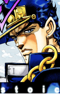 when people call jotaro autistic or edgy but he's really just: O  ノ when people call jotaro autistic or edgy but he's really just