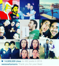 Thank You, Mia, and Kaka: o 14,929,529 Likes to 492 posts in 2016  werevertumorro Thank you for your likes! Cuál fue su foto favorita??? La mía fue con Kaka.