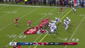 BIG fourth down stop for the @Colts defense!  Indy takes over on downs. #Colts  📺: #INDvsKC on NBC 📱: NFL app // Yahoo Sports app Watch free on mobile: https://t.co/ZqkGgcuCUY https://t.co/jj7Ho9SMWz: O 2  O PE  4t  O  КС 10  IND 16  4th 5:07  4th &1  :11  2-2  4-0 BIG fourth down stop for the @Colts defense!  Indy takes over on downs. #Colts  📺: #INDvsKC on NBC 📱: NFL app // Yahoo Sports app Watch free on mobile: https://t.co/ZqkGgcuCUY https://t.co/jj7Ho9SMWz