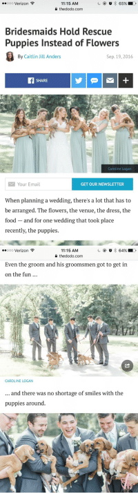 """""""What color flowers do you want at your wedding?"""" Me:: o 65%  LD  ooooo Verizon  11:15 AM  the dodo.com  Bridesmaids Hold Rescue  Puppies Instead of Flowers  By Caitlin Jill Anders  Sep. 19, 2016  SHARE  Caroline Logan  M Your Email  GET OUR NEWSLETTER  When planning a wedding, there's a lot that has to  be arranged. The flowers, the venue, the dress, the  food and for one wedding that took place  recently, the puppies.   64% LD  ooooo Verizon  11:15 AM  the dodo.com  Even the groom and his groomsmen got to get in  on the fun  CAROLINE LOGAN  and there was no shortage of smiles with the  puppies around """"What color flowers do you want at your wedding?"""" Me:"""