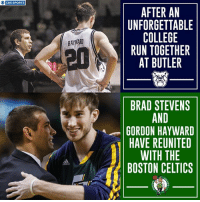 Gordon Hayward and Brad Stevens have (officially) reunited.: O CBS SPORTS  AFTER AN  UNFORGETTABLE  COLLEGE  RUN TOGETHER  AT BUTLER  HAYWARD  晢  BRAD STEVENS  AND  GORDON HAYWARD  HAVE REUNITED  WITH THE  BOSTON CELTICS  didas Gordon Hayward and Brad Stevens have (officially) reunited.