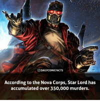 Memes, Avengers, and Guardians of the Galaxy: O DAILYCOMICFACTS  According to the Nova Corps, Star Lord has  accumulated over 350,000 murders. That's insane! Who is your favorite member of the Guardians of the Galaxy? • marvel marvelcomics comics marvelheroes marvelvillains hero heroes villains villain avengers avengersassemble marvelstudios marvelmovies marvelfacts marvelcomicfacts dailyfacts comicfacts comic mcu dailycomicfacts