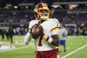 Dwayne Haskins is now in at QB for the @Redskins.   📺: #WASvsMIN on @NFLNetwork | @NFLonFOX | @PrimeVideo How to watch: https://t.co/I6INVckndX https://t.co/G3zFO989Gr: O. Dwayne Haskins is now in at QB for the @Redskins.   📺: #WASvsMIN on @NFLNetwork | @NFLonFOX | @PrimeVideo How to watch: https://t.co/I6INVckndX https://t.co/G3zFO989Gr